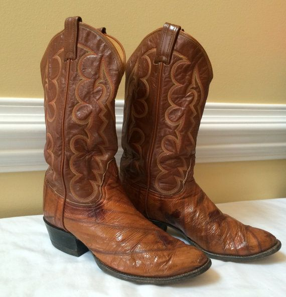 Tony Lama Men's Cowboy Boots Black Label SZ 9D by DejaVuVintiques