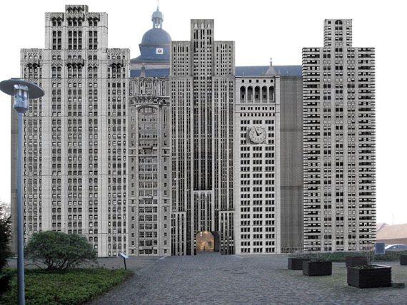 "Bettina Pousttchi ""The City"" 2014, Fotoinstallation, Fassade Schloss Wolfsburg (Simulation)"