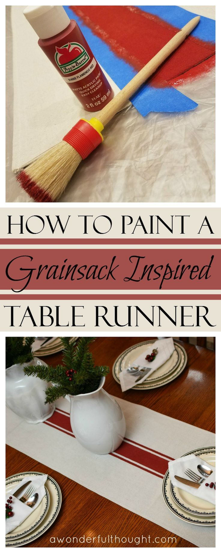 Check Out My Tutorial On How To Paint A Grainsack Inspired Table Runner. It  Includes