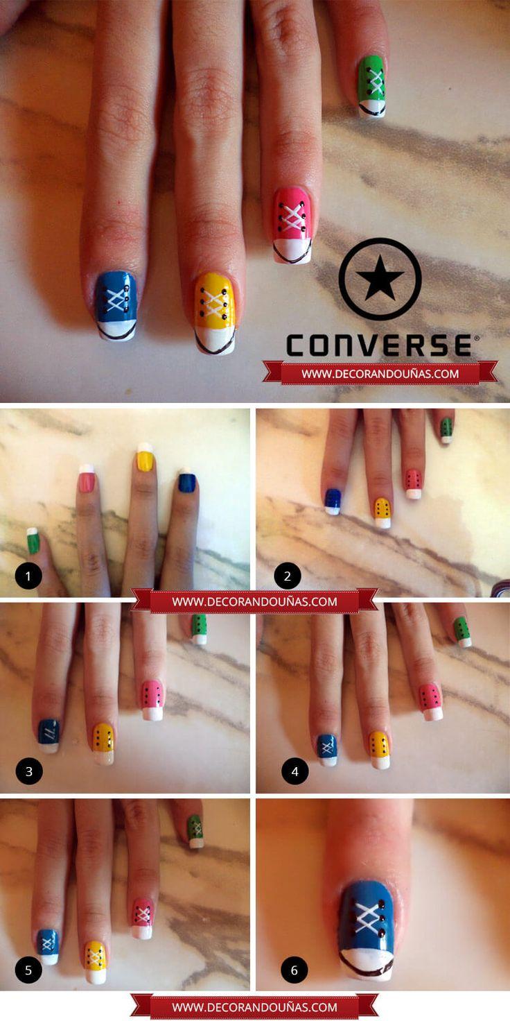 Uñas decoradas con zapatillas Converse – Paso a Paso | Decoración de Uñas - Manicura y Nail Art