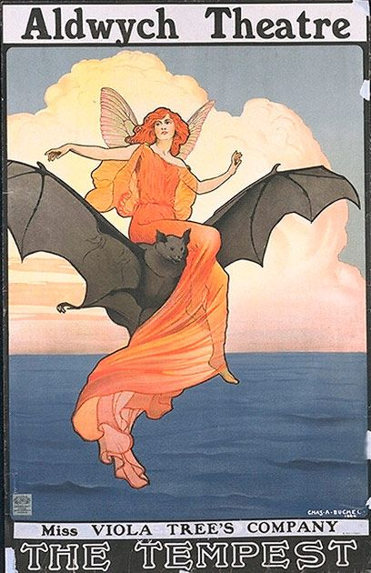Poster advertising Viola Tree's Company performing The Tempest at the Aldwych Theatre, London, by Charles A Buchel, 1904.