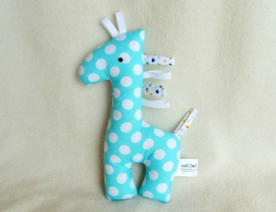 Giraffe Baby Rattle and Teether Soft Toy Fabric rattle by SenArt1