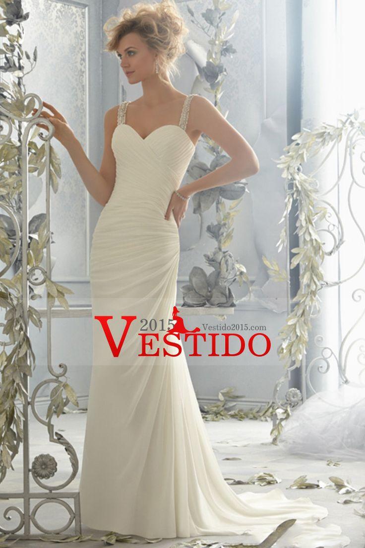 2014 con cuentas Correas vaina / columna de la boda vestido de blusa plisada capilla cola gasa