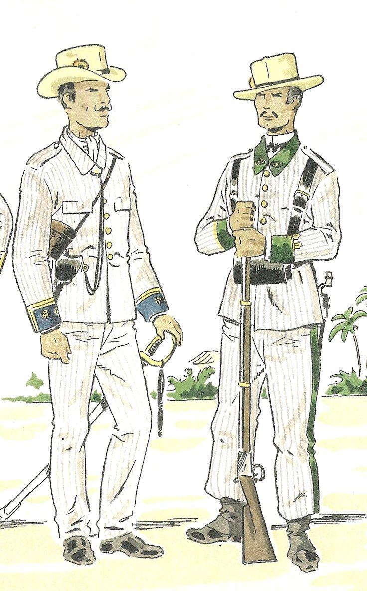 CUBA.- Uniformes Militares de España , 1890, dibujos de D. J ose Mº .Bueno