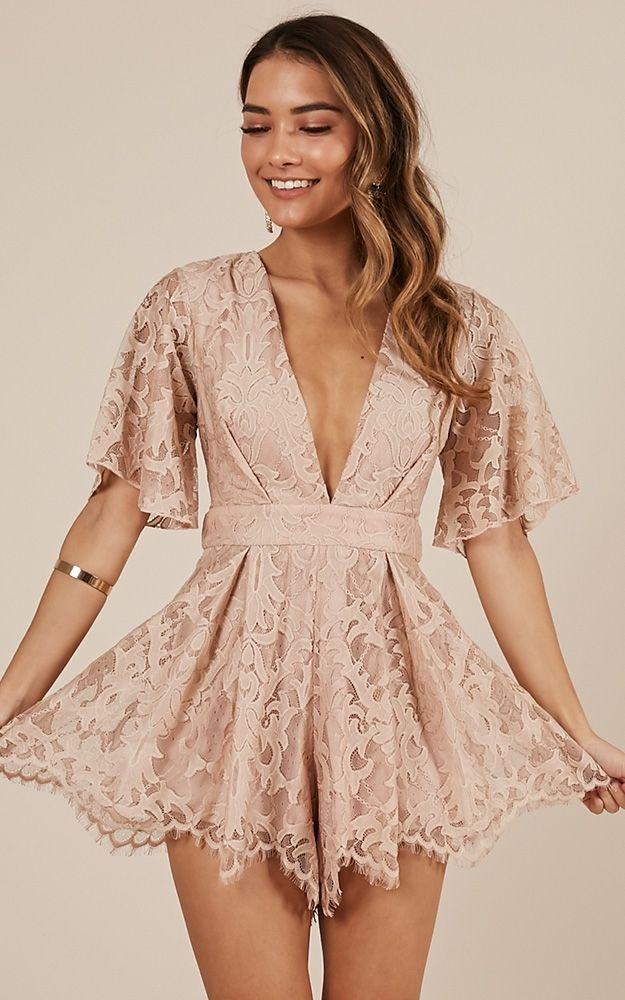 a81327790f09 Break the bar playsuit in blush lace Light Dress