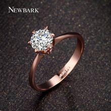 Newbark forever love wedding band clássico anéis rosa banhado a ouro de 6 pinos rodada espumante aaa cz anéis de diamante jóias(China (Mainland))