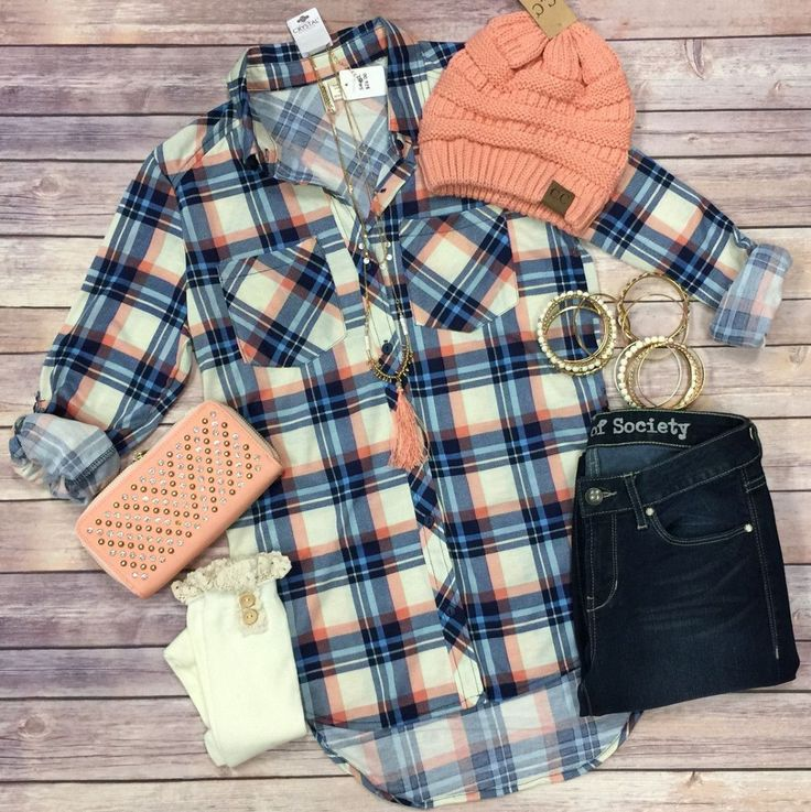What I like about you Plaid Flannel Top: Navy/Coral from privityboutique