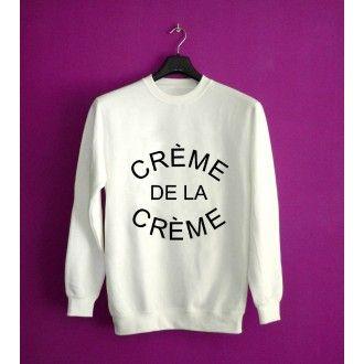 Creme De La Creme Unisex White Sweatshirt