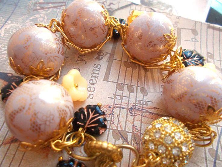 bracelet romantique vieux rose or, noir