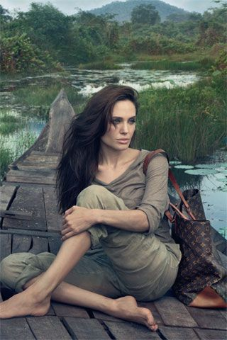 """A single journey can change the course of a life. Cambodia, May 2011.""      Angelina Jolie photographed by Annie Leibovitz for Louis Vuitton."