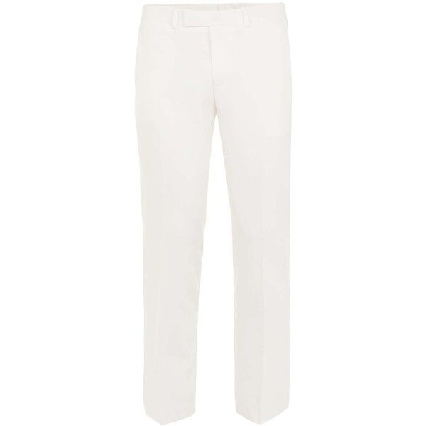 TOPMAN White Skinny Fit Tux Trousers ($80) ❤ liked on Polyvore featuring men's fashion, men's clothing, men's pants, men's dress pants, white, mens white pants, mens skinny pants, mens white tuxedo pants, mens polyester pants and mens tuxedo pants