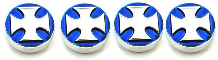 All Sales Interior Dash Knobs (set of 4) AC+4wd knob- Iron Cross Blue