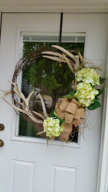 Barbed wire wreath with deer antlers gift by cp https://www.facebook.com/TheRustyRingneck/
