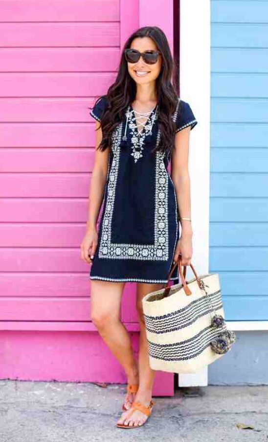 Stitch fix spring 2016 Navy and white embroidered dress oversized beach tote