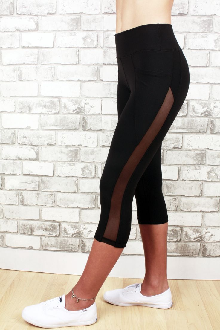Jordyn capri with mesh detail up the side of legs and 2 pockets