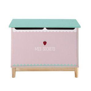 Cassapanca per giocattoli bambino in legno rosa L 70 cm - Berlingot