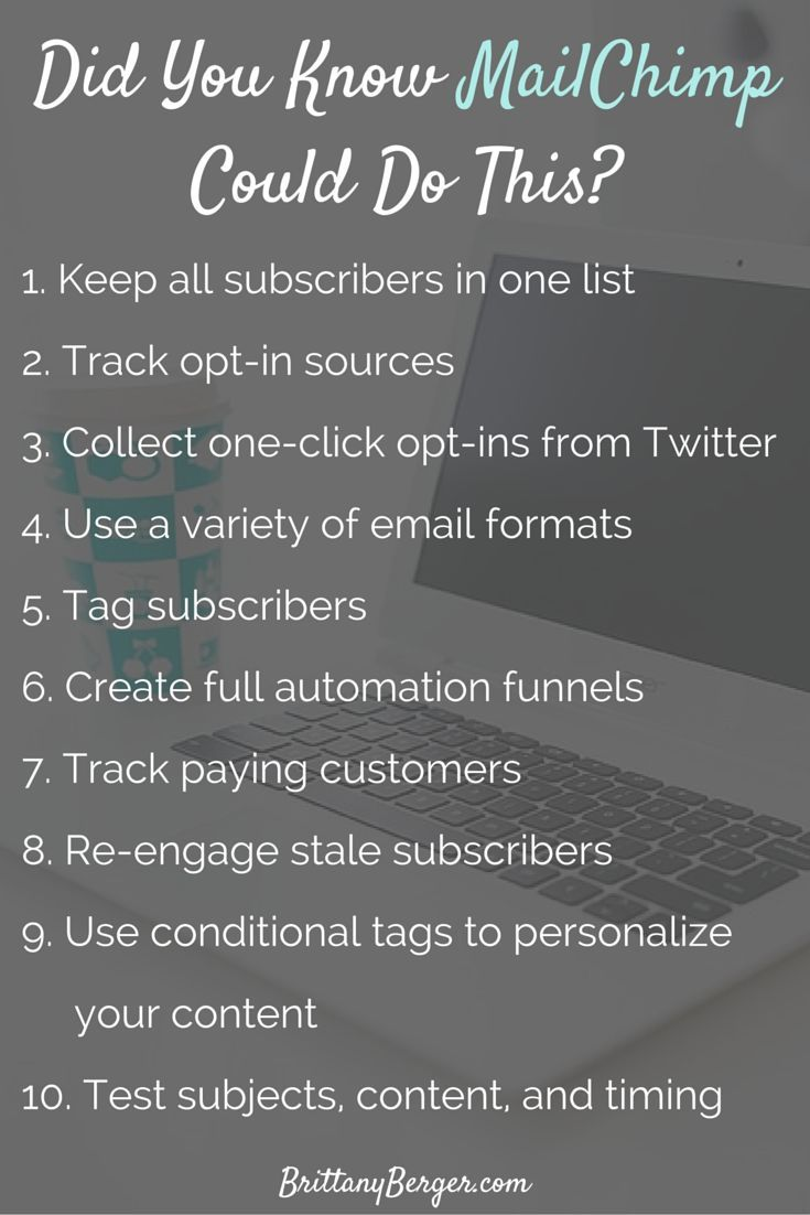 10 Advanced MailChimp Features You Probably Forgot About - Lately MailChimp has gotten a reputation for being a reputation for being a beginner's tool only. That couldn't be further from the truth. Here are some advanced email marketing features you might not have known about in MailChimp, from delivering content upgrades to tracking paying customers. http://www.brittanyberger.com/advanced-mailchimp-features/