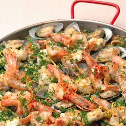 Paella with Calamari, Prawns & Mussels