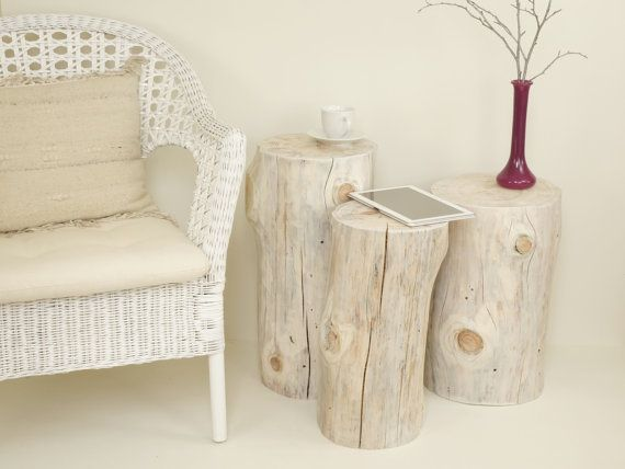 Set of white Tree Stump table wood trunk set weiß Baumstumpf baumstamm tisch sgabello ceppo di legno