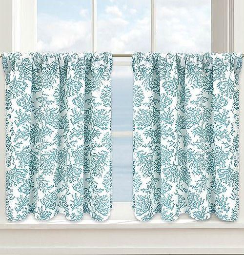 Coastal Coral Curtains... http://www.completely-coastal.com/2016/10/coastal-nautical-window-treatments.html