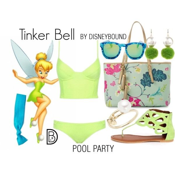 Disney Bound: Tinker Bell from Disney's Peter Pan (Pool Party Outfit)