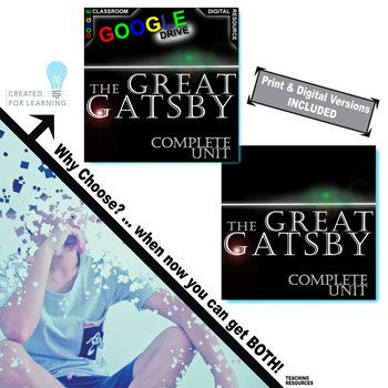 Our Combination The Great Gatsby Unit Teaching Package has 400+ pages and slides of engaging activities (236+ print and 166+ digital Google Drive). Learners will enjoy the rigor and creativity in these standards-aligned resources built from best practices. PreReading activities, Google Earth, Plot, Conflict, Character analysis, Writing Prompts, Essay/Speech topics, and Figurative Language. And now, our Created for Digital resources take all the trusted, quality instructional tools you know…