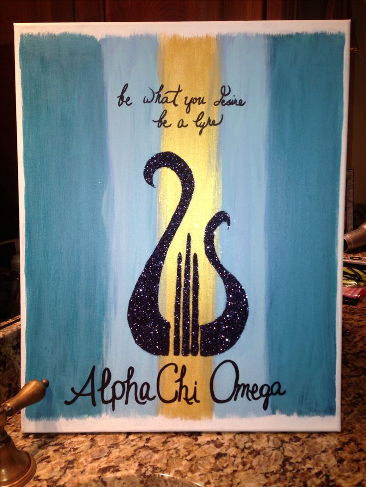 I painted this on canvas for my daughters frien. She is a member of The Alpha Chi Omega sorority at ku.