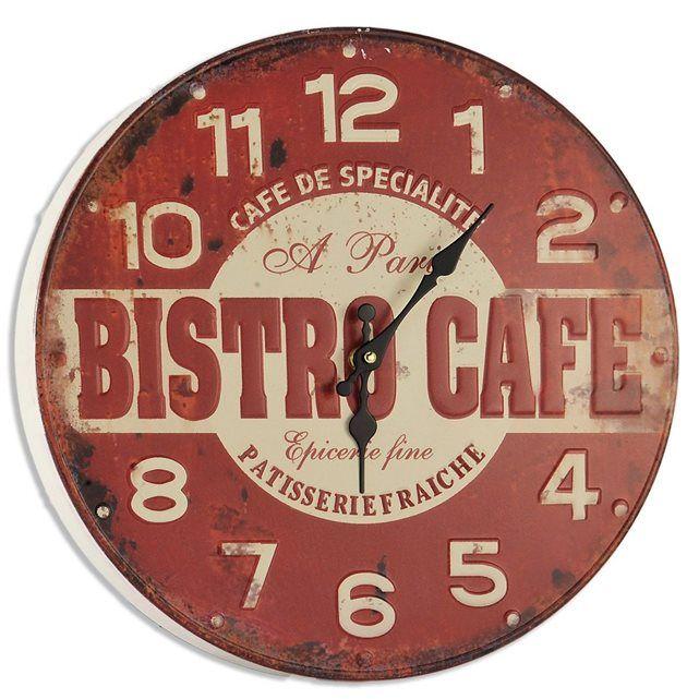 Horloge Murale Design Bistrot Rouge ATYLIA