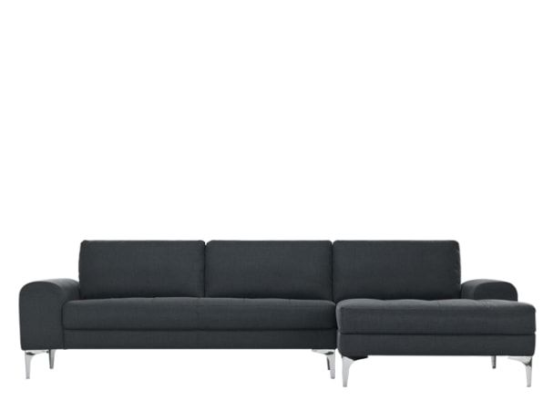 the vittorio right hand facing corner sofa group in anthracite grey adds a italian style silhouette a two part design with a chaise longue