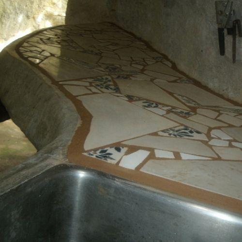 Gut Broken Tile Mosaic Counter