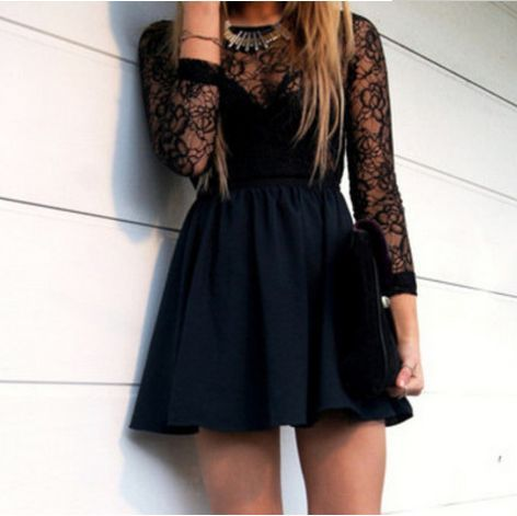 Hollow Black Homecoming Dress, Long Sleeve Lace Prom Dress,Sexy Mini Homecoming Dress