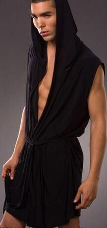 Men's robes comfortable casual bathrobes sleeveless Viscose sexy Hooded robe homewear mens sexy sleepwear lounge clothes