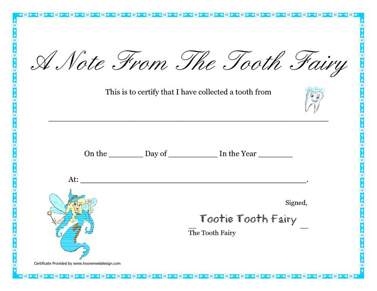 Free Printable Tooth Fairy Letter | Tooth Fairy Certificate Printable A Note From The Tooth