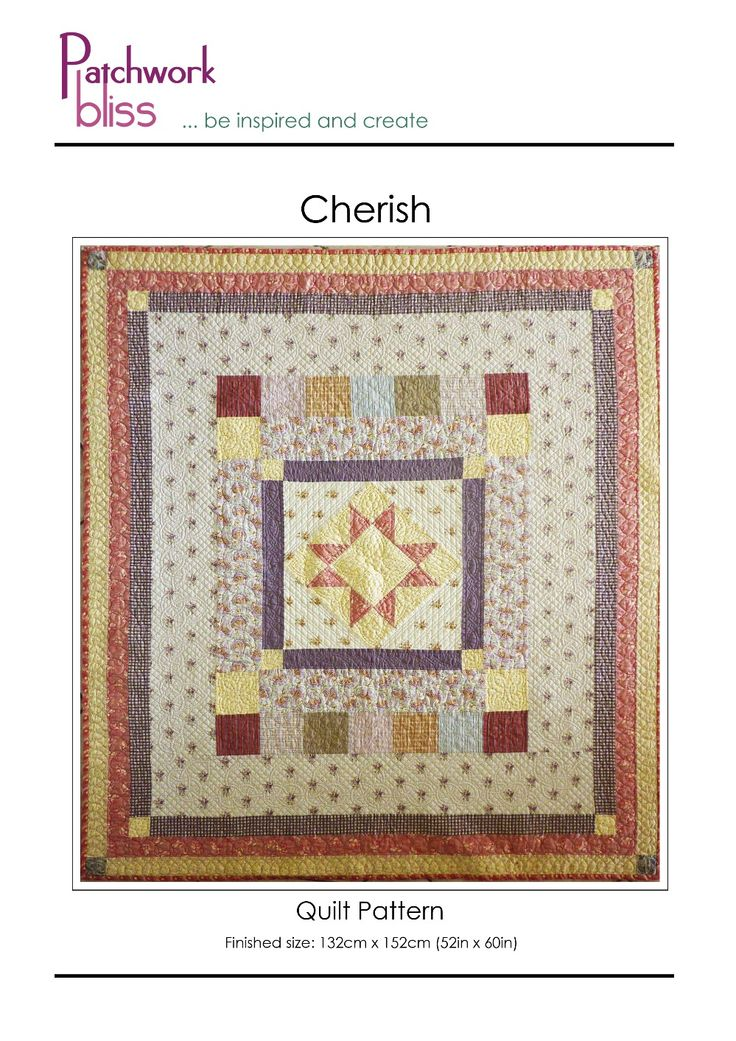 The Cherish is a small medallion quilt is perfect for a new baby or a special loved one. The central star block is set on point. The quilt comes together very quickly with the addition of each of the simple borders.