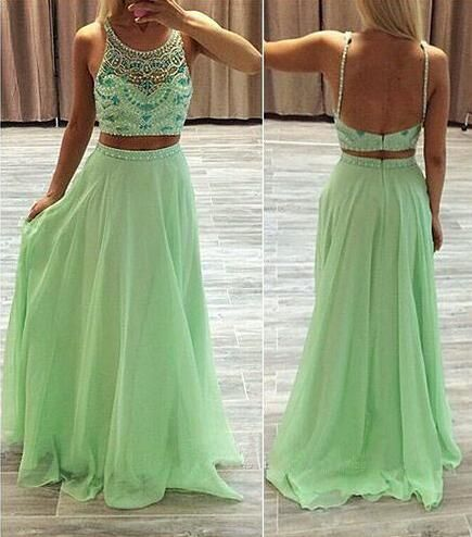 Unique Two Pieces Party Dresses Sheath Jewel Top Beaded Two Straps Princess Low Back Long Prom Formal Pageant Dresses