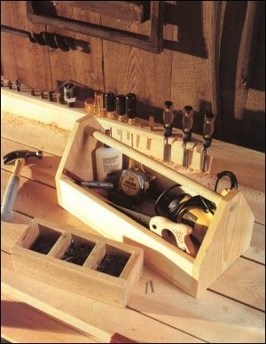 Plans for easy-to-build carpentry and woodworking projects such as a nail box and carpenter's toolbox