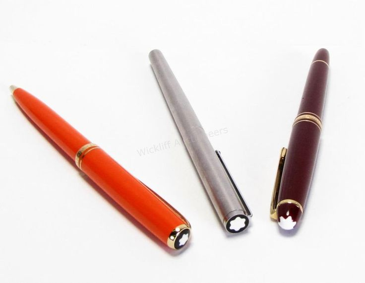 Three Mont Blanc Pens with Cases, burgundy 'Meisterstuck', #4810, fountain pen, nib stamped 14k; orange 'Generation' rollerball pen; Mont Blanc 'slimline' stainless steel pen; all with Mont Blanc hard cases #montblanc #wickliffauction