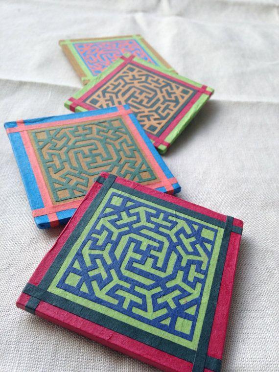 Handmade Hanji paper Magnets with geometrical by HanjiNaty on Etsy, $15.00