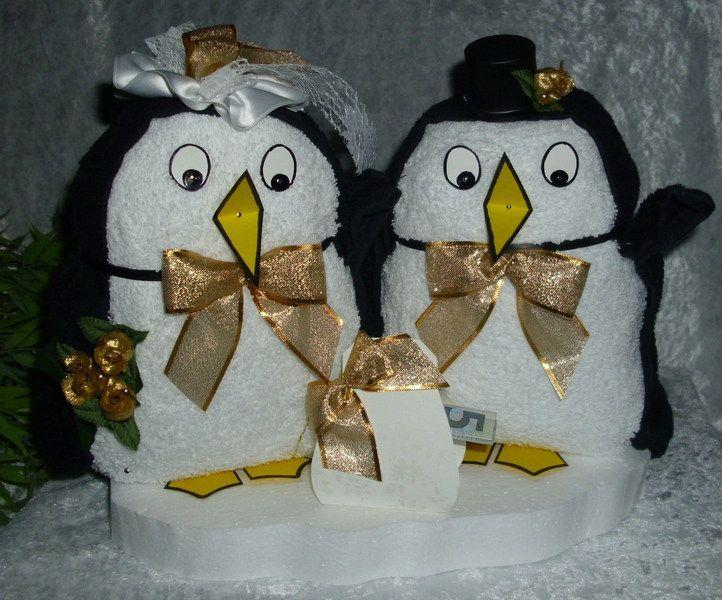 Brautpaar Pinguine Geldgeschenk Waschlappenpinguin Goldene