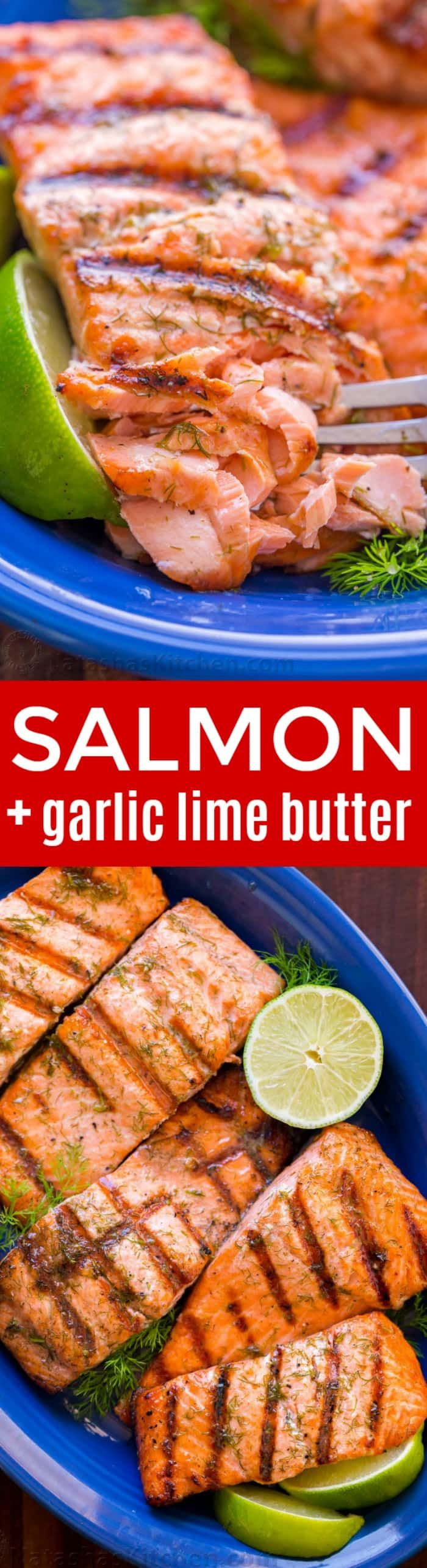 Break out the BBQ for this Grilled Salmon with Garlic Lime Butter and eat like you're on vacation! Go-To Grilled Salmon recipe - it excites your taste buds! Sponsored by @hookedonsalmon | natashaskitchen.com