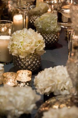 Wedding, Table, Candles, Modern, Ivory, Glass, Florals, Votives, Sophisticated, Center, Candlelight, Metallic, Pieces, Amanda john