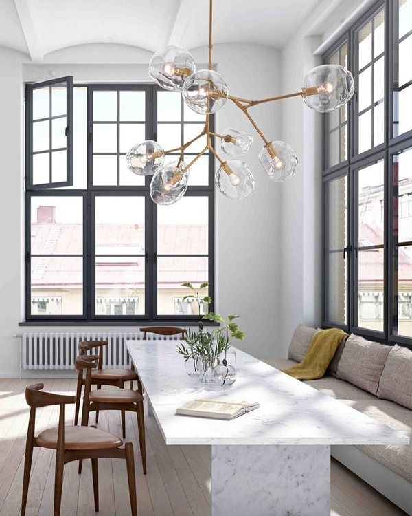 This stunning bubble chandelier was inspired by lindsey adelman bright brass and glass make for