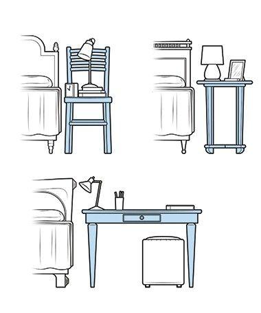 101 ideias de decoração: Fuja do comum ao comprar seu criado-mudo. Mesinha lateral, cadeira ou, se o espaço permitir, até escrivaninha são eficazes substitutos