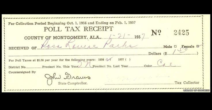 Mesmo sem ter direito ao voto, afro-americanos ainda tinham que pagar um imposto eleitoral. Rosa Parks garantiu o direito ao voto na década de 1940, depois de pelo menos duas tentativas de se registrar. Este recibo mostra o quanto Parks pagou de imposto eleitoral em 1957, pouco antes de ela e o marido se mudarem para Detroit