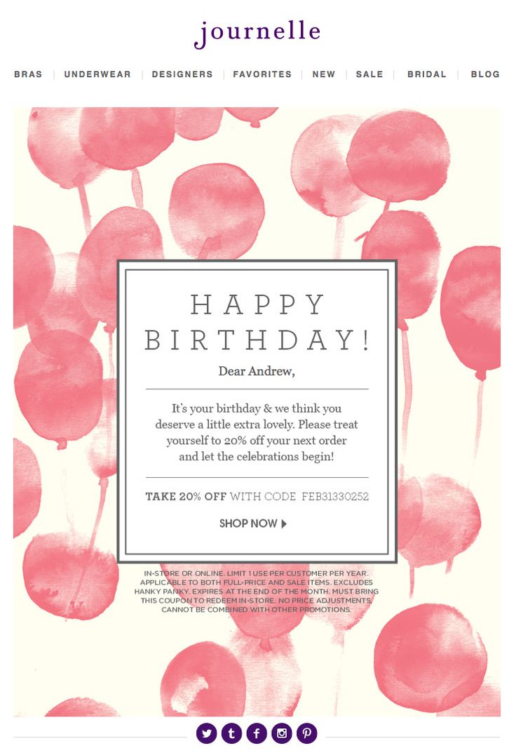Birthday email marketing campaign example.