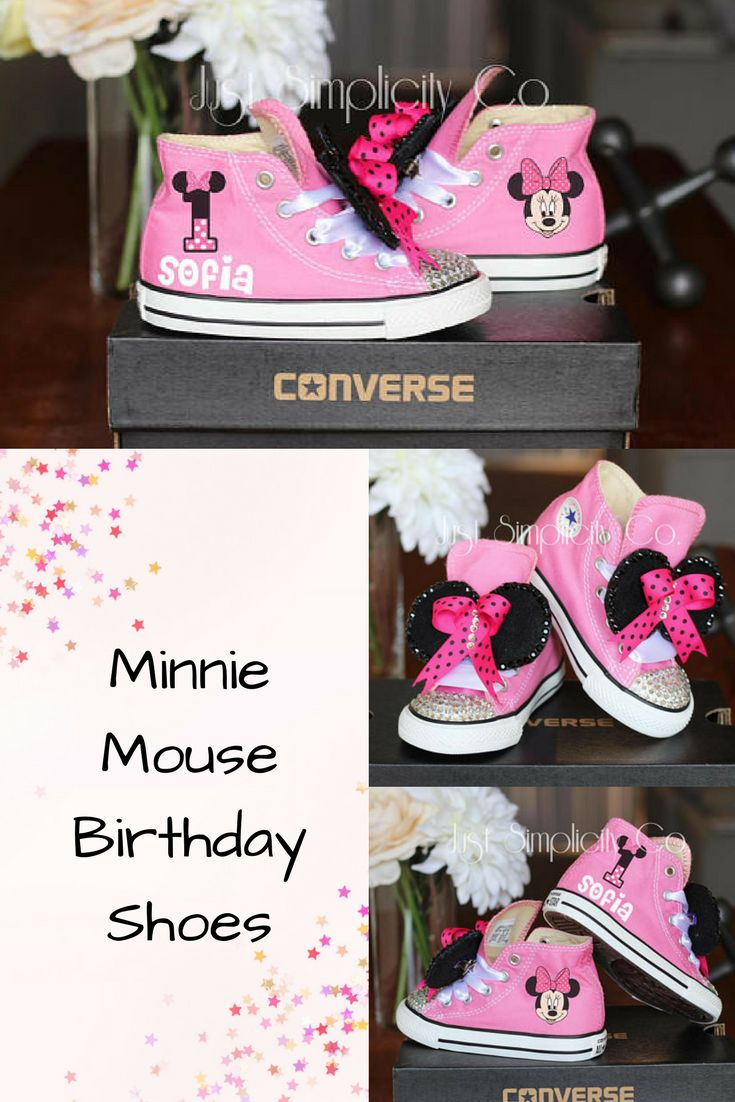 Minnie Mouse Pink Converse Sneakers with ears and a bow. Perfect for the Mickey & Minnie Birthday! #ad