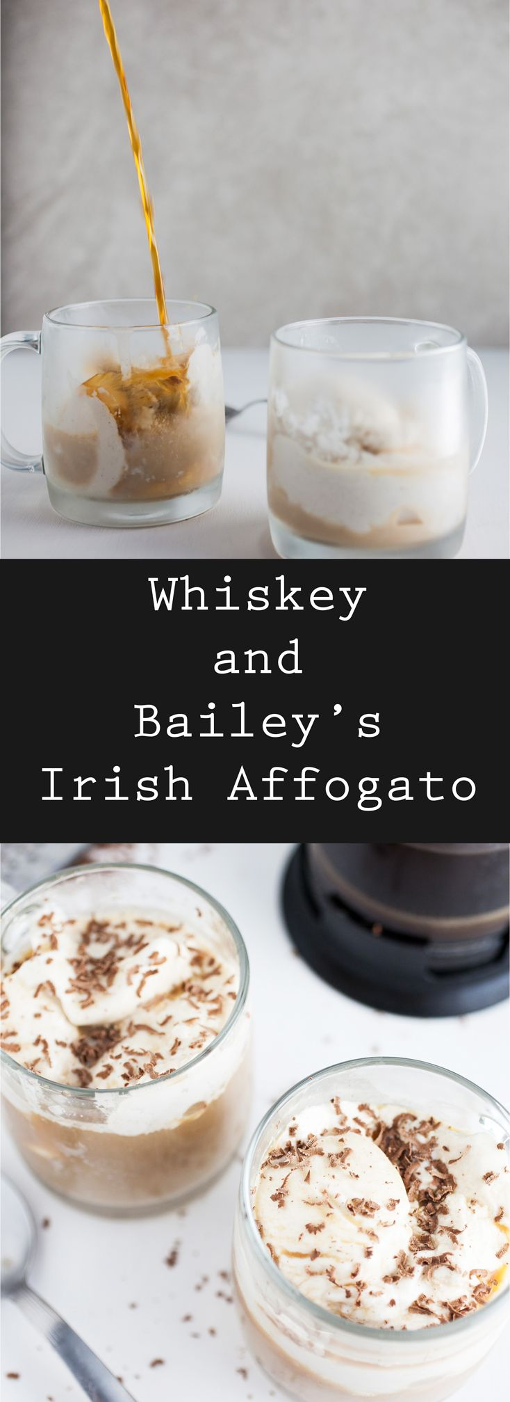 This Whiskey and Bailey's Irish Affogato is the ultimate sweet treat! It's the perfect blend of Irish and Italian decadence. This drink has ice cream, Irish whiskey, Bailiey's Irish cream, coffee, and chocolate. Seriously, what's not to love? This boozy dessert recipe has it all! Celebrate St. Patrick's Day with this boozy dessert cocktail! #ad @drizly #baileys #whiskey #affogato #stpatricksday