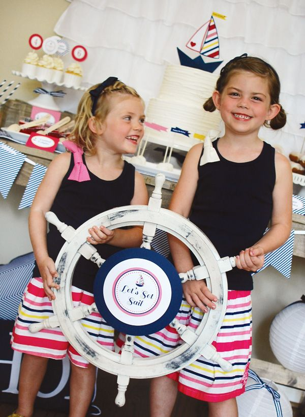 use a captain's wheel for pictures for a nautical theme