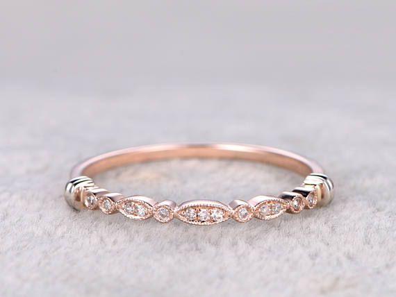 Natural DiamondsHalf Eternity Wedding Ring14K Rose