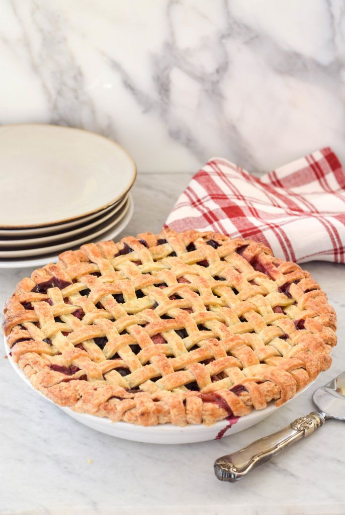 Bluebarb Pie (blueberry and rhubarb) is great with fresh or frozen fruit. No soupy filling and the perfect lattice crust!